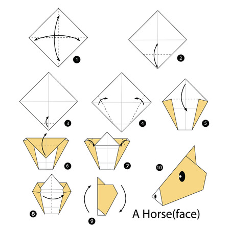 Step By Step Instructions How To Make Origami Horse Royalty Free