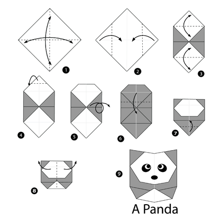 steps: step by step instructions how to make origami panda.