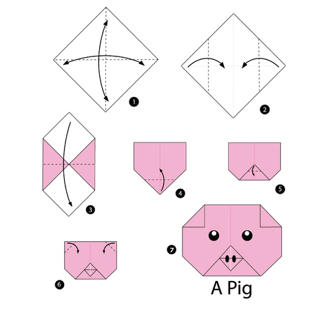 Step By Step Instructions How To Make Origami Pig Royalty Free
