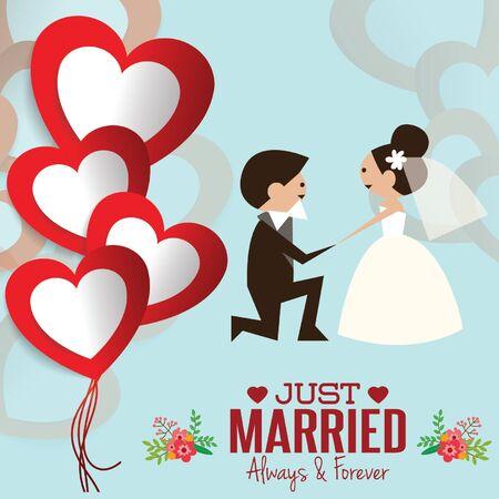 enamorados caricatura: Ilustraci�n de la hermosa boda par dulce. Vectores