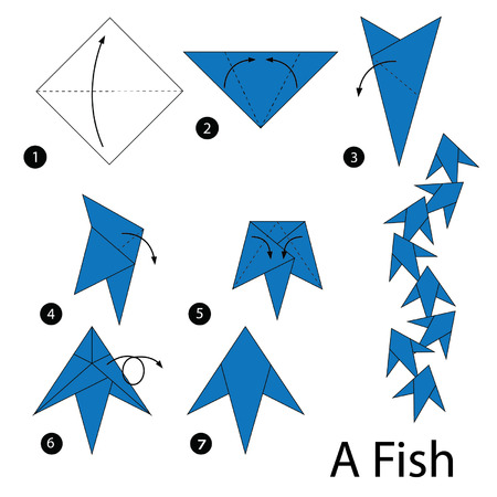 Step By Step Instructions How To Make Origami Fish Royalty Free
