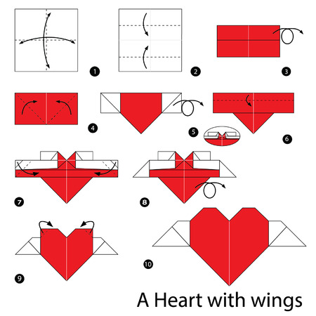 Step By Step Instructions How To Make Origami Heart With Wings