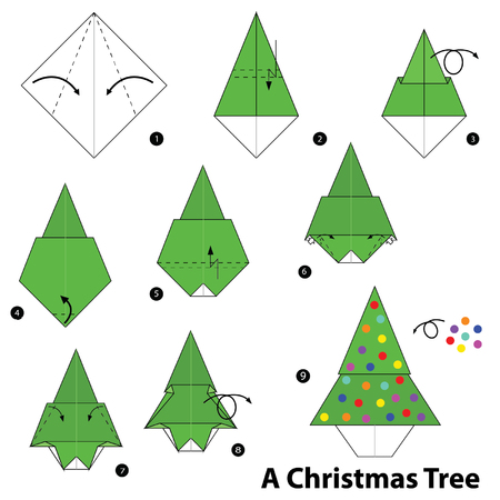 stap voor stap instructies hoe origami kerstboom te maken.