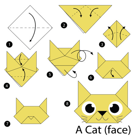 step by step instructions how to make origami cat Illustration