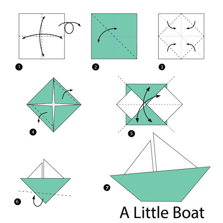 step by step instructions how to make origami Little Boat. 矢量图像