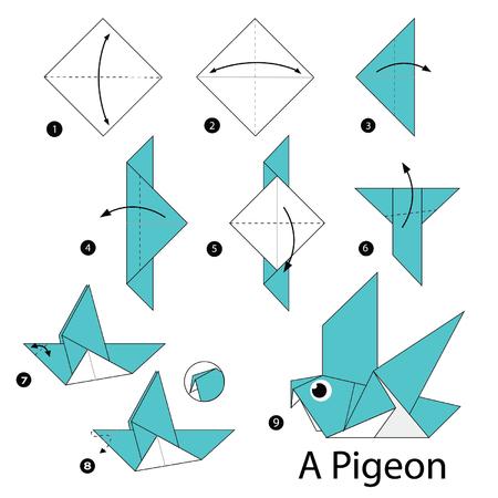 stap voor stap instructies hoe origami A Bird maken. Stock Illustratie