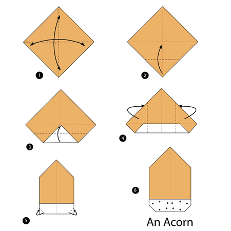 instructions: step by step instructions how to make origami An Acorn.