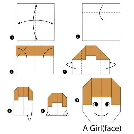 instrucciones: step by step instructions how to make origami A Girl.