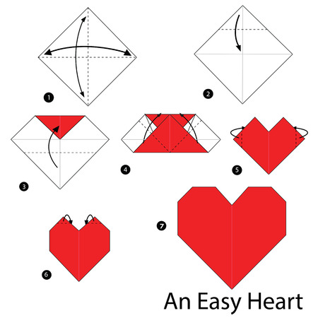 step by step instructions how to make origami An Easy Heart.  イラスト・ベクター素材