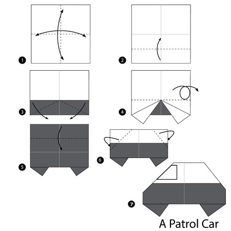 patrol car: Step by step instructions how to make origami A Patrol Car.