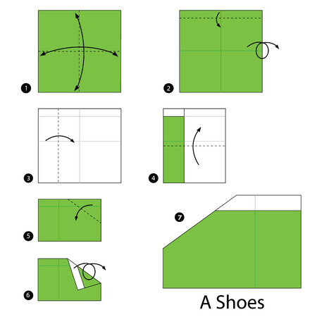 instructions: step by step instructions how to make origami A Shoes.
