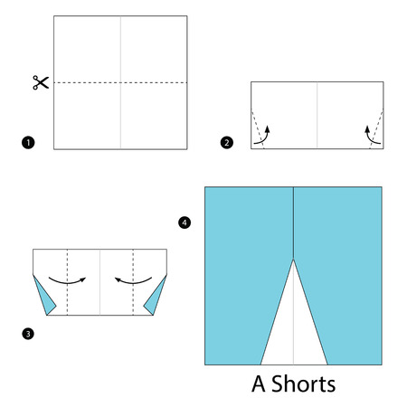 shorts: step by step instructions how to make origami A Shorts. Illustration