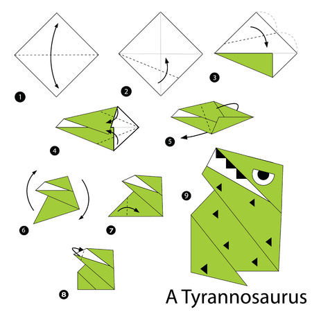 Step By Step Instructions How To Make An Origami A Dinosaur Royalty