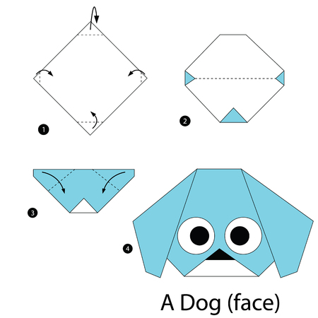 step by step instructions how to make origami A Dog (face).