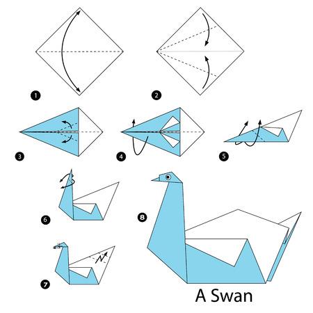 stap voor stap instructies hoe origami Een zwaan te maken. Stock Illustratie