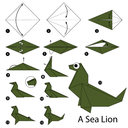 sea lion: Step by step instructions how to make origami A Sea Lion. Illustration