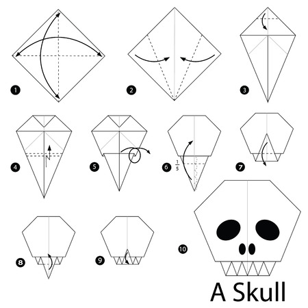 Step By Step Instructions How To Make Origami A Skull Royalty Free