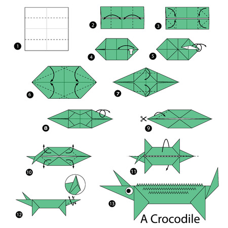 instrucciones: step by step instructions how to make origami A Crocodile.