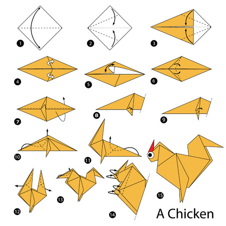instructions: step by step instructions how to make origami A Chicken.