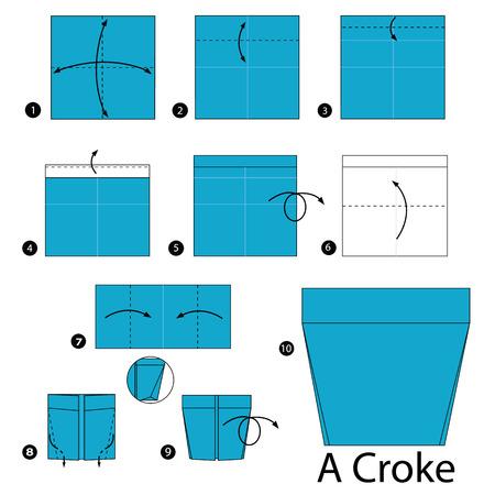 instrucciones: instrucciones paso a paso c�mo hacer origami un tiesto. Vectores