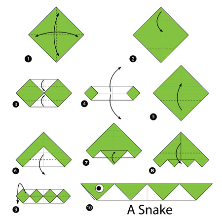 step by step instructions how to make origami A Snake.