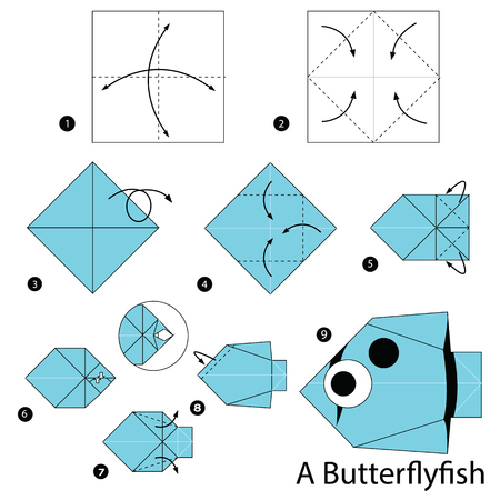 butterfly fish: step by step instructions how to make origami A Butterfly fish.