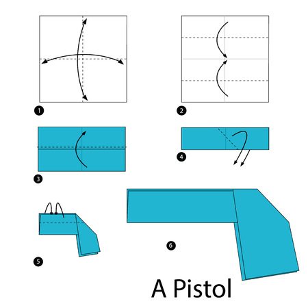 instructions: step by step instructions how to make origami A Pistol. Illustration