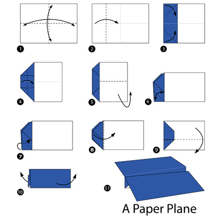 instrucciones: Instrucciones paso a paso c�mo hacer origami de un avi�n.