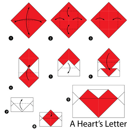 Step By Step Instructions How To Make Origami A Hearts Letter