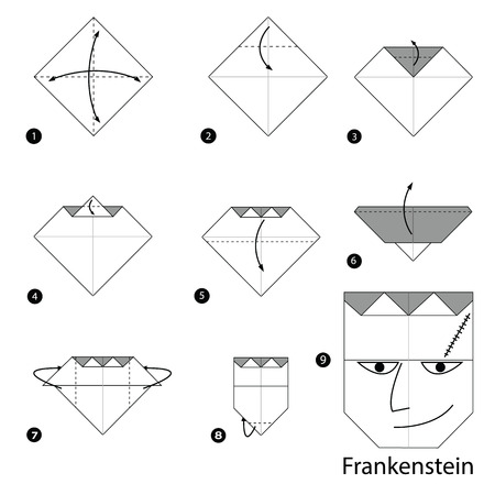 instrucciones: step by step instructions how to make origami Frankenstein.