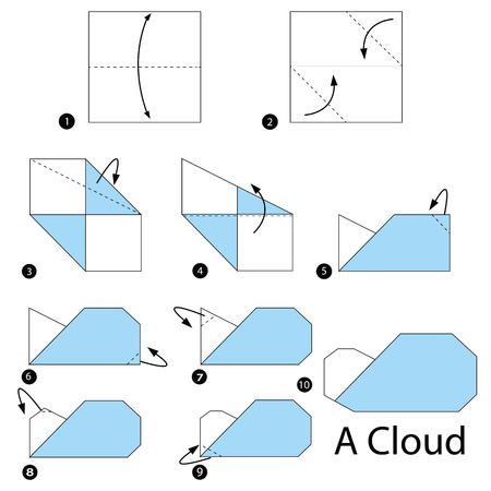Step By Instructions How To Make Origami A Cloud Stock Vector