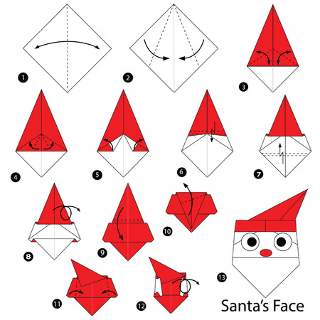 step by step instructions how to make origami Santa Face.