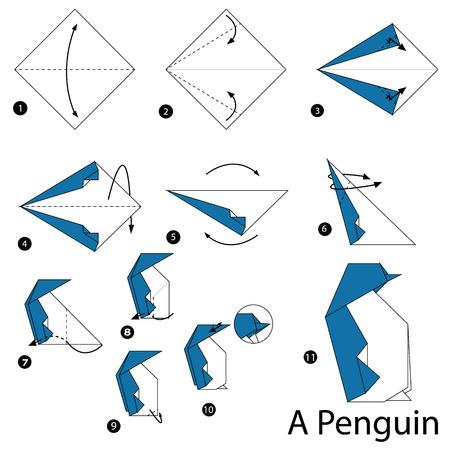 Stap voor stap instructies hoe origami een pinguïn maakt.