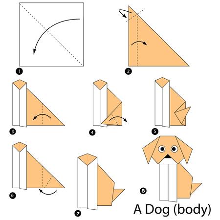 Schritt für Schritt Anweisungen, wie man Origami einen Hund (Körper) macht.