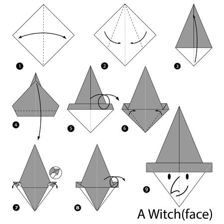 Schritt für Schritt Anleitung, wie man origami eine Hexe (Gesicht) zu machen. Standard-Bild - 71139433