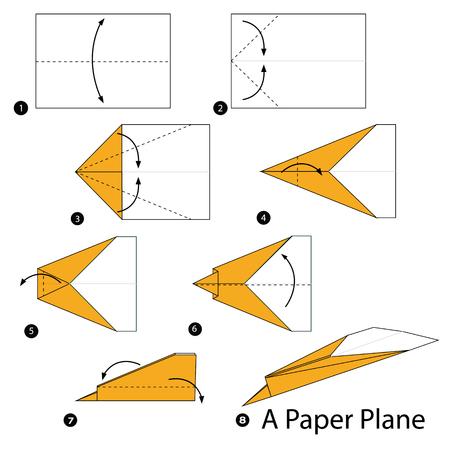 Step By Step Instructions How To Make Origami A Paper Plane Royalty