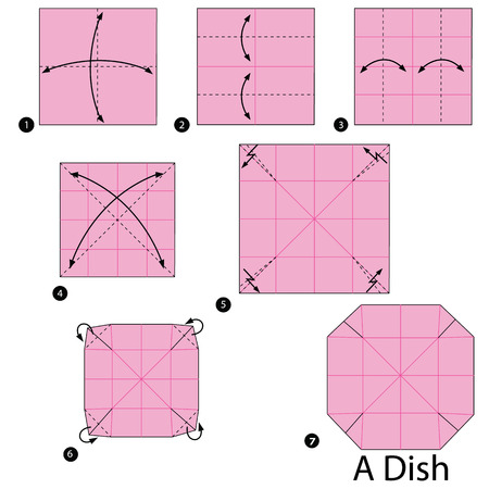 folded paper: step by step instructions how to make origami A Dish.