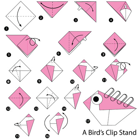Step by step instructions how to make origami A Birds Clip Stand. Illustration