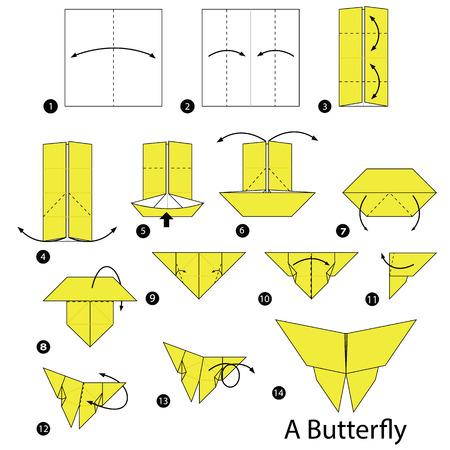 Stap voor stap instructies hoe u origami van een vlieg kunt maken.