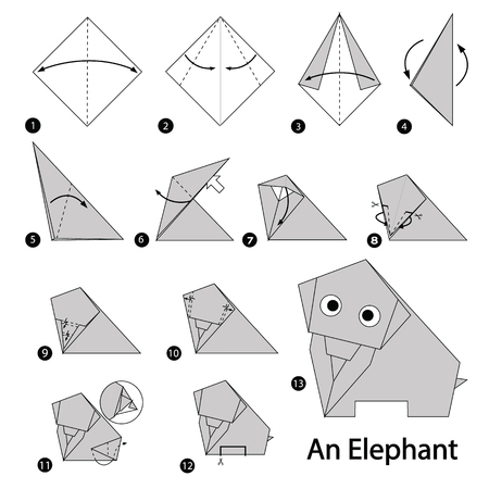 folded paper: Step by step instructions how to make origami An Elephant. Illustration