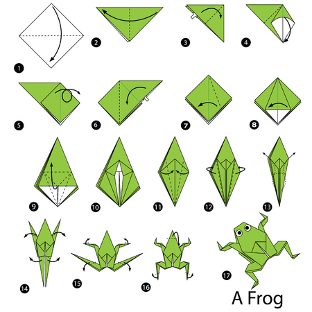Schritt für Schritt Anleitung, wie man Origami ein Frosch zu machen. Vektorgrafik