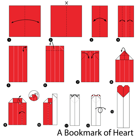 Step By Instructions How To Make Origami A Bookmark Of Heart Stock Vector