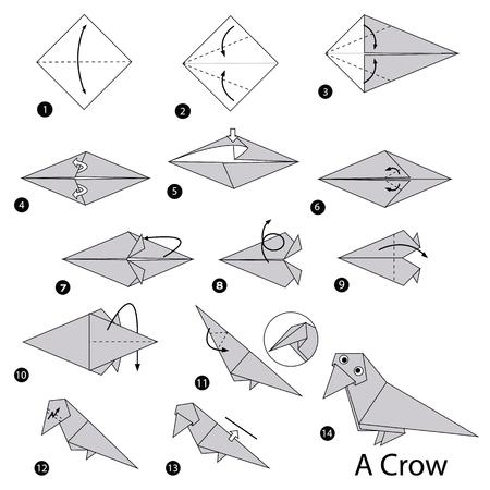 Schritt für Schritt Anleitung, wie man origami eine Krähe macht