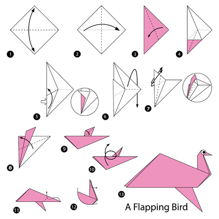step by step instructions how to make origami A Flapping Bird