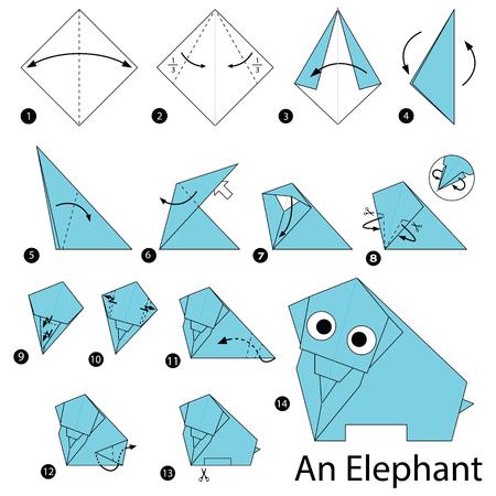 Schritt für Schritt Anleitung, wie man Origami ein Elefant machen Vektorgrafik
