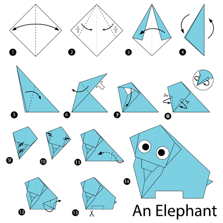 step by step instructions how to make origami An Elephant
