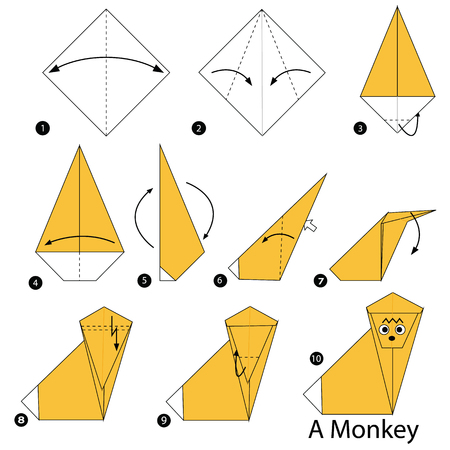 step by step instructions how to make origami A Monkey Illustration