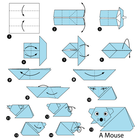 step by step instructions how to make origami A Mouse Illustration