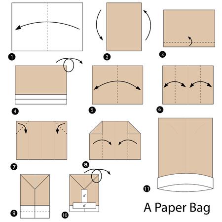 stap voor stap instructies hoe u origami een papieren tas maakt
