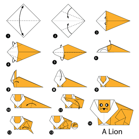 step by step instructions how to make origami A Lion Illustration